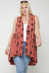 Plus Size Skull Sublimation Print Sleeveless Cardigan Rust - Teal Pineapple Boutique