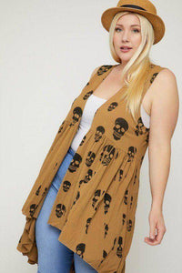 Plus Size Skull Sublimation Print Sleeveless Cardigan Tan - Teal Pineapple Boutique