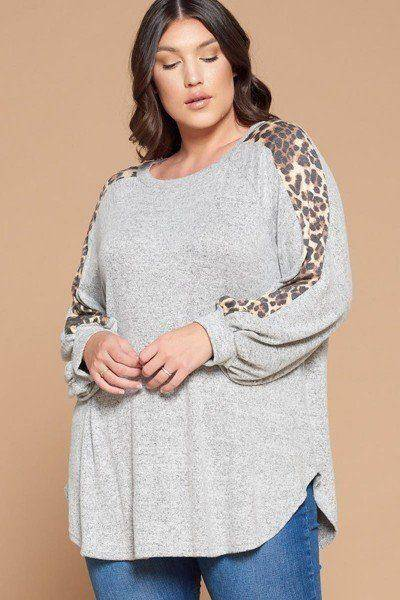 Plus Size Solid Hacci Brush Leopard Tunic Top Heathered Gray - Teal Pineapple Boutique
