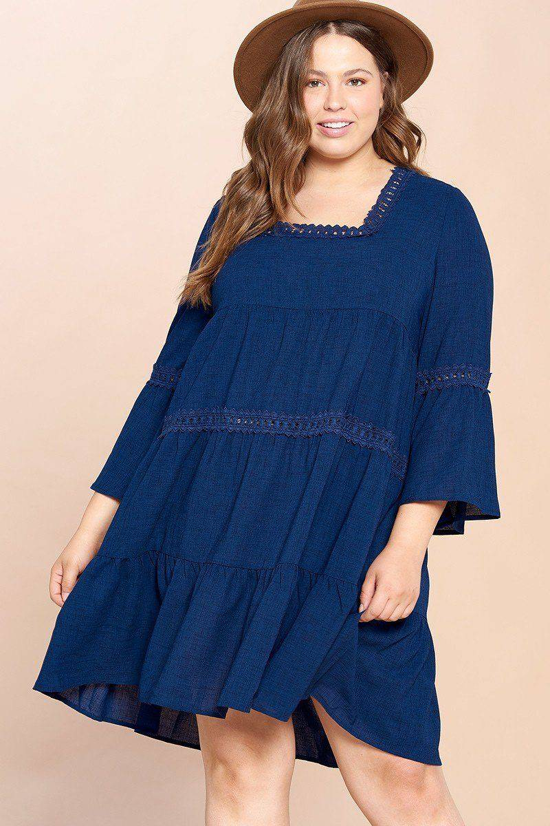 Plus Size Solid Loose-fit Woven Babydoll Dress in Navy Blue - Teal Pineapple Boutique