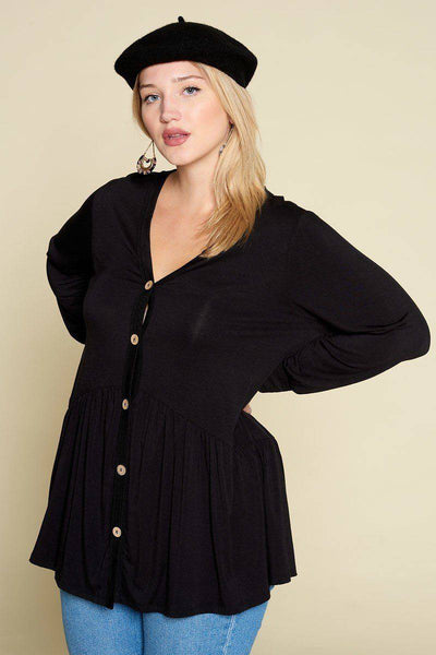 Plus Size Solid Modal Jersey Faux Button Up Top Black - Teal Pineapple Boutique