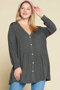 Plus Size Solid Modal Jersey Faux Button Up Top Charcoal - Teal Pineapple Boutique
