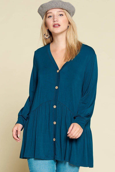 Plus Size Solid Modal Jersey Faux Button Up Top Dark Teal - Teal Pineapple Boutique