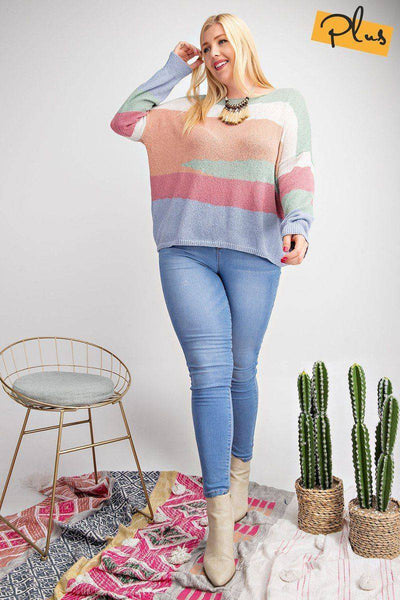 Plus Size Striped Light Weight Knitted Sweater Top Multi Sage - Teal Pineapple Boutique