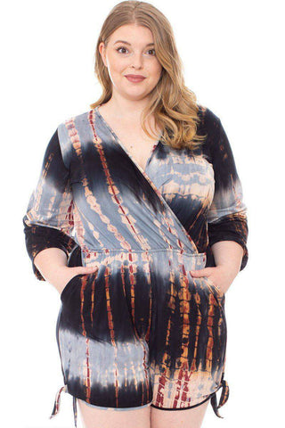 Plus Size Tie Dye Wrap Jumper Romper Black Rust