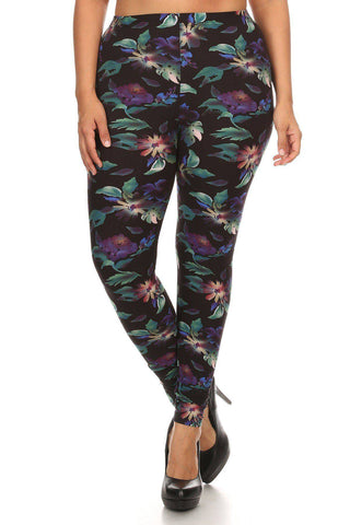 Plus Size Tropical Floral Pattern High Waist Leggings - Teal Pineapple Boutique