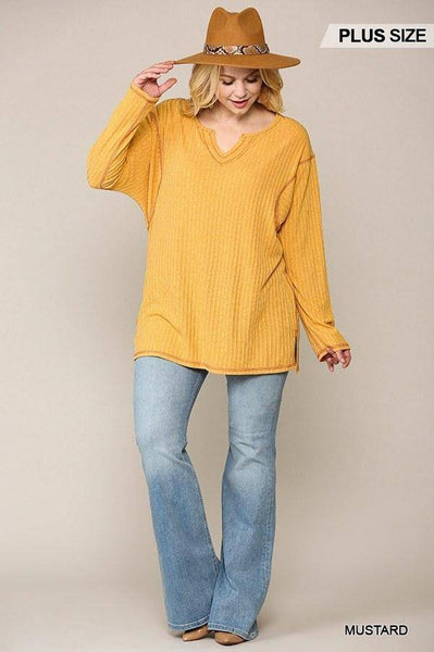 Plus Size Two-tone Ribbed Tunic Top Mustard - Teal Pineapple Boutique