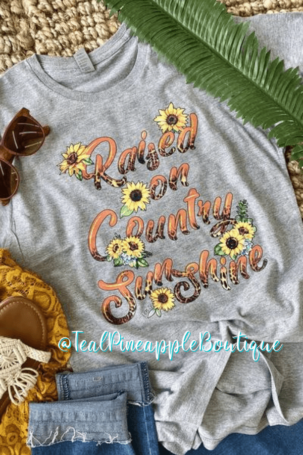 """ Raised On Country And Sunshine "" Sunflower Animal Print Graphic Tee Shirt - Teal Pineapple Boutique"