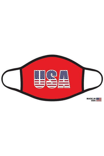 Red American Flag USA Graphic Printed Adult Face Mask