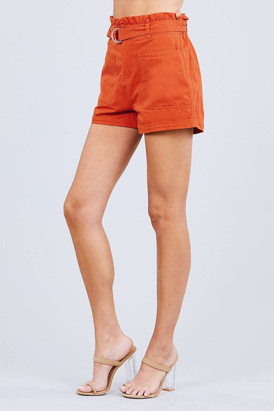 Side Pocket Rolled Up Paper Bag Cotton Shorts in Orange Rust - Teal Pineapple Boutique