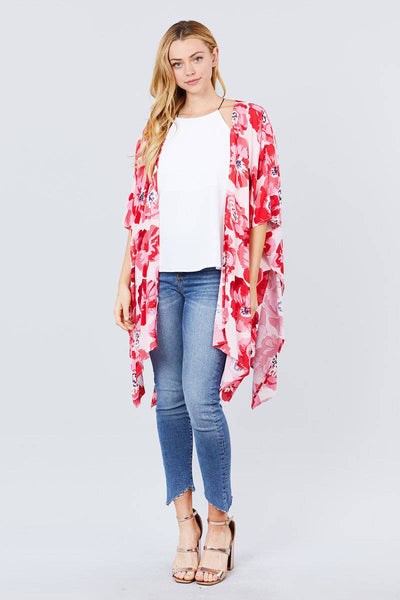 Slide Slit Print Kimono Cardigan in Pink & Red - Teal Pineapple Boutique