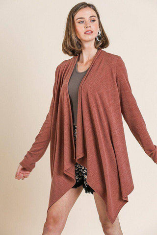 Soft Knit Long Sleeve Asymmetrical Hem Cardigan Sweater Rust - Teal Pineapple Boutique