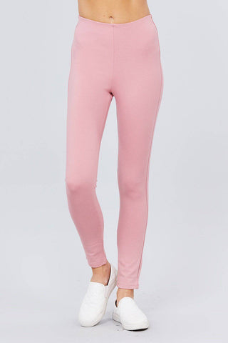 Solid Baby Pink Elastic Waist Band Ponte Pants Leggings