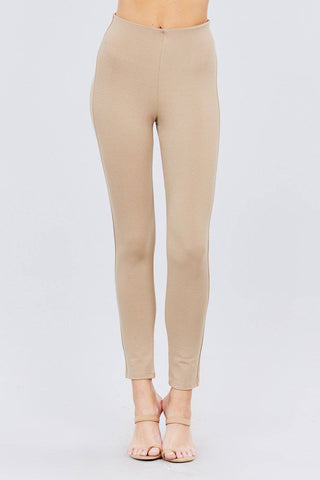 Solid Deep Khaki Elastic Waist Band Ponte Pants Leggings