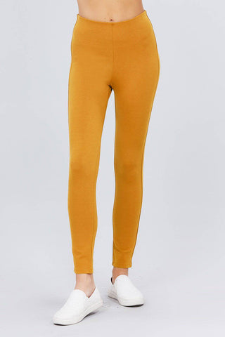 Solid Deep Mustard Elastic Waist Band Ponte Pants Leggings