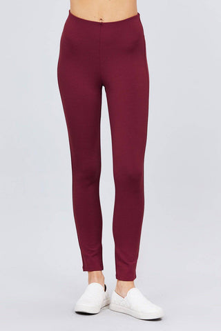 Solid Maroon Elastic Waist Band Ponte Pants Leggings