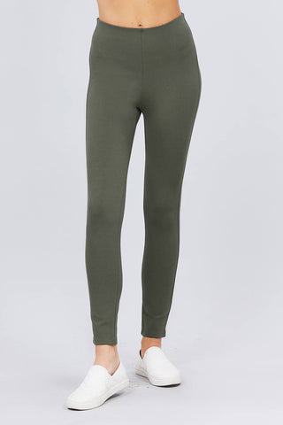 Solid Olive Green Elastic Waist Band Ponte Pants Leggings