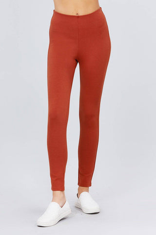 Solid Rust Elastic Waist Band Ponte Pants Leggings