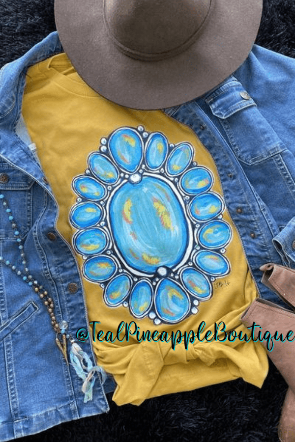 """ Southwestern Turquoise "" Bella Canvas Graphic Tee Shirt - Teal Pineapple Boutique"