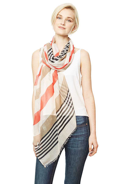 Stripe Pattern Long Raw Hem Scarf in Blue, Mint or Red - Teal Pineapple Boutique