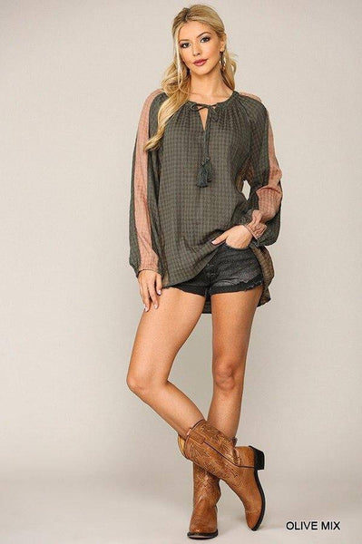 Tassel Tie Textured Peasant Top in Olive - Teal Pineapple Boutique