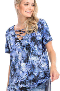 Tie-Dye Short Sleeve Cage Front Top in Blue - Teal Pineapple Boutique