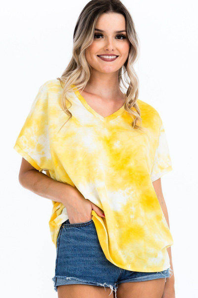 Tie-dye Top V-Neck Soft Tee Shirt in Yellow - Teal Pineapple Boutique