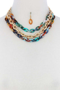 Triple Layer Multi Color Thick Chain Necklace And Earring Set - Teal Pineapple Boutique