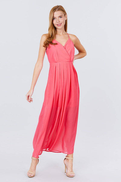 V-neck Cross Back Strap Detail Maxi Cami Dress in Coral Pink - Teal Pineapple Boutique