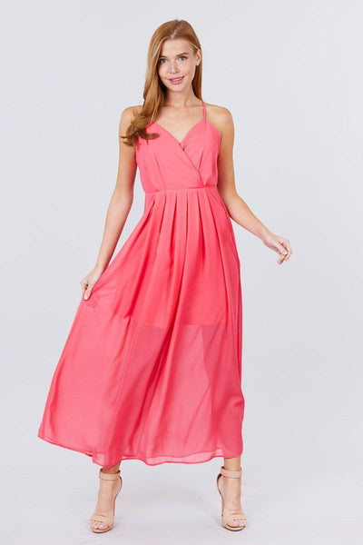 V-neck Cross Back Strap Detail Maxi Cami Dress in Coral Pink