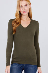 V-Neck Sweater Rivet Style Sleeve Buttons Olive Green - Teal Pineapple Boutique