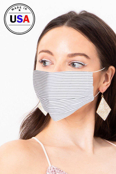 White Striped Reusable Washable Cool Breathable Fabric Face Mask - Teal Pineapple Boutique