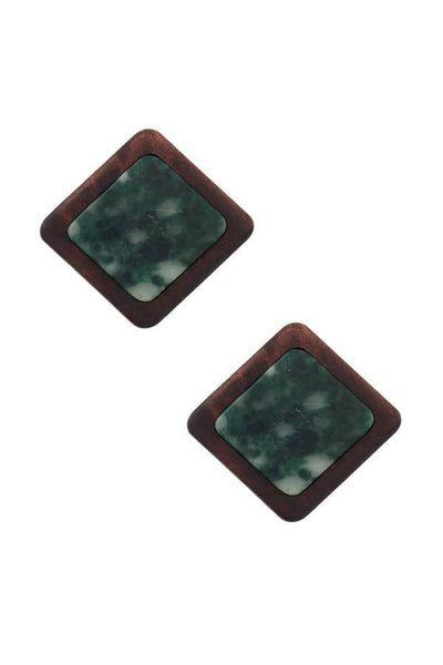 Wood Square Fashion Post Earrings with Colored Inlay - Teal Pineapple Boutique