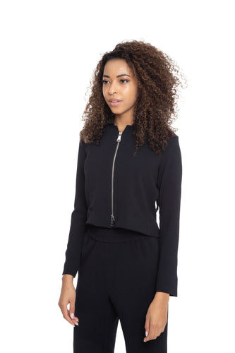 NINObrand Black Short Jacket with long sleeves and pleated back panel