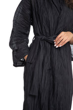 Load image into Gallery viewer, NINObrand Black Crinkle Sheer Robe Jacket with zippers on the sleeves