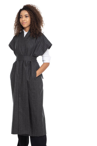 NINObrand dark grey pinstripe long vest with belt and side pockets
