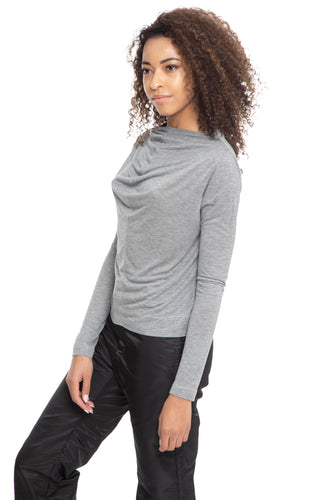 NINObrand Gray long sleeve super soft top with cowl neck