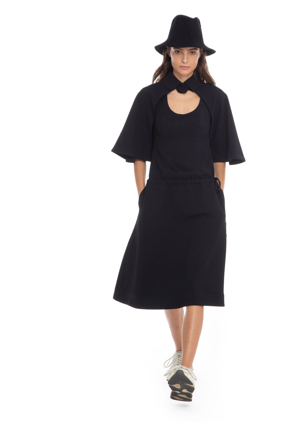 NINObrand Black Dress With Cape draw string and side pockets