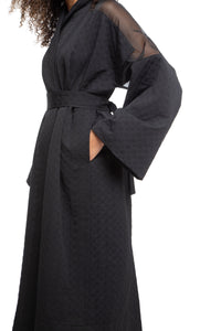 NINObrand Black Heavy Robe Jacket with sheer shoulder and sleeve detail