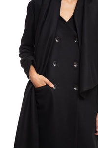 NINObrand Black Wool Coat with detachable thick neck scarf
