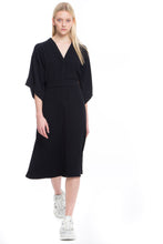 Load image into Gallery viewer, NINObrand black modern Kimono A-line dress w/belt in technical fabric
