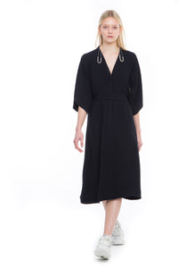 NINObrand black modern Kimono A-line dress w/belt in technical fabric