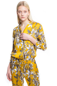 NINObrand Button down pajama Gray and mustard floral print