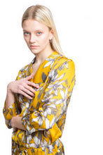 Load image into Gallery viewer, NINObrand Button down pajama Gray and mustard floral print