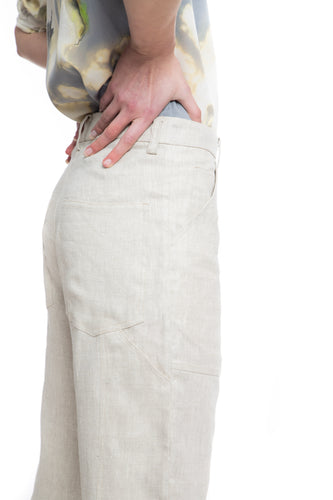 100% linen tan carpenter pants
