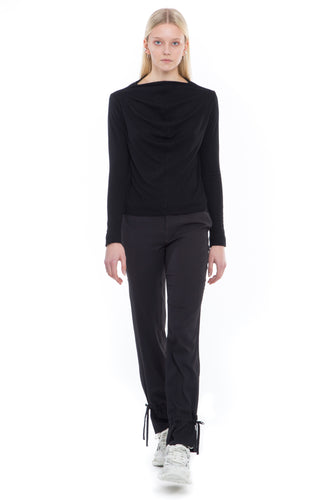 NINObrand long sleeve Top with cowl neck on front and back