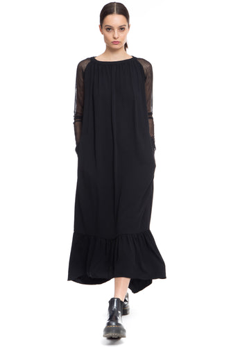 Black long Dress with sheer long sleeves, bottom ruffle, side pockets
