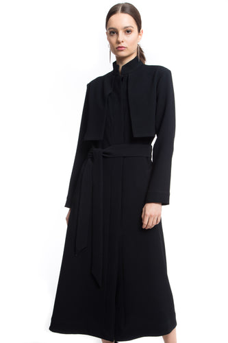 NINObrand Milan Black long sleeve trench coat