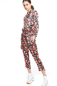 NINObrand Red Poppies/Daises pattern on black Button down pajama top