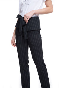 NINObrand Nathan cream pinstripe on black tapered pant with peplum